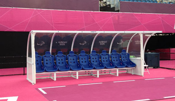 Curved Team Shelters with Superior Seats